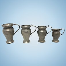 4 Antique German Nuremberg Pewter Jug Pot Dollhouse early 19th Century