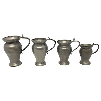 4 Antique German Nuremberg Pewter Jug Pot Dollhouse early 19th Century