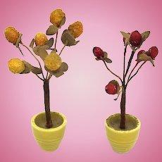 set of two wonderful early German Dollhouse Flower Pots