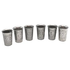 Lot of 6 Pewter Beaker Drinking Cups Dollhouse Antique German