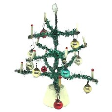 Vintage Doll House Christmas Tree with glass ornaments german
