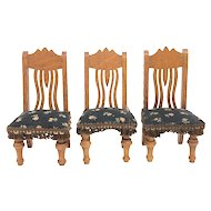 Lot of 3 Antique German Dollhouse Parlor Chairs Germany 1890's
