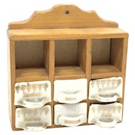 Dollhouse Doll Kitchen Wall Rack Cabinet Porcelain containers vintage german