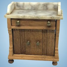 Antique Dollhouse Furniture Cupboard wood and marble German 1900s