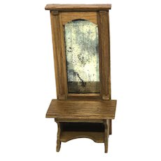 Antique Wood Hall Mirrored Table Dollhouse Miniature German 1900's