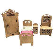 Antique Dollhouse wooden hand carved Bedroom Set German 1910s