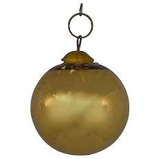 rare German Kugel Christmas gold Mercury Glass Ornament 19th Century