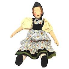 Vintage german Cloth Doll Folk Art 1930's or older