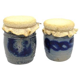Lot of 2 German Westerwald Pottery Salt Glazed Crock Dollhouse 1890s