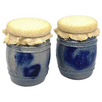Set of two German Westerwald Pottery Salt Glazed Crock Dollhouse 1890s