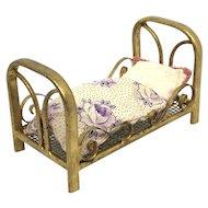 Marklin Dollhouse Bed gilded Metal Tin Toy antique german