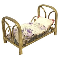 Marklin Dollhouse Bed gilded Metal Tin Toy antique german