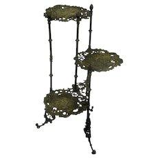 Ornate Brass Pedestal Display Table Plant Stand 3 Tier Birds Hollywood Regency