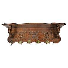 Gorgeous Hand Carved Wood Oak Coat Hat Rack Breughel Style figurine heads