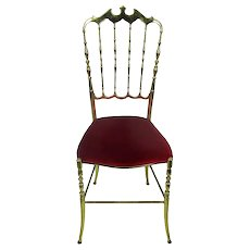 Vintage Chiavari Chair Brass Hollywood Regency Italian Red Fabric Authentic