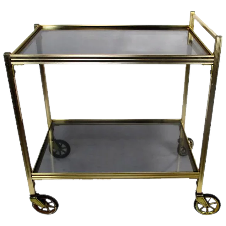Vintage Bar Cart Trolley Cocktail Kitchen Island Smoked Glass Mid :  SecondLife | Ruby Lane