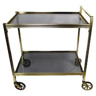 Vintage Bar Cart Trolley Cocktail Kitchen Island Smoked Glass Mid Century Modern