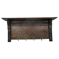 "Gorgeous Hand Carved Wood Coat Hat Kitchen Hallway Rack Ornate Lion Heads 40"""