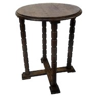 Large Gorgeous Edwardian Oak Wood Display Table Pedestal Plant Stand 25""