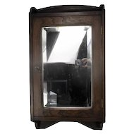 Vintage Wooden Kitchen Apothecary Wall Cabinet Mirror Beveled Glass Mid Century