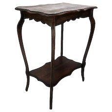 Art Nouveau Wood Side Occasional Wine Table Pedestal Plant Stand Two Tier HTF