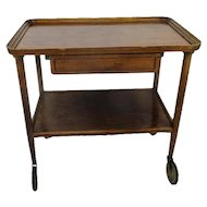 Vintage Bar Cocktail Tea Cart Trolley Kitchen Island Wood Drawer Extremely HTF