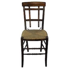 Antique Wooden Chair Rush Seating Adjustable Back Extremely Rare Funky