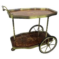 Italian Bar Cocktail Tea Cart Trolley Italian Hollywood Regency Marquetry Lovely