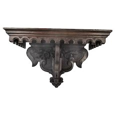 Hand Carved Dark Wooden Wall Hall Console table Ornate Bracket Gorgeous