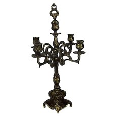 Gorgeous Brass Ornate Embossed Candle Holder Stick Candelabra Sniffer 5 arm