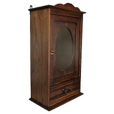 Gorgeous Retro Kitchen Apothecary Bathroom Wall hanging Cabinet Oval Mirror Oak
