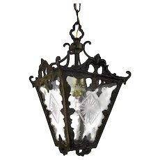 Vintage Lantern Ornate Brass Etched Glass Chandelier Pendant Shade Lovely