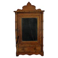 Vintage Bamboo Style Medicine Kitchen Bathroom Cabinet Apothecary Beveled Glass