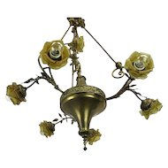 Hollywood Regency Chandelier 7 Lights Amber Shades Putti Brass Empire WOW