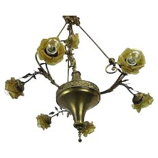 Hollywood Regency Chandelier 7 Lights Amber Shades Putti Brass Empire WOW