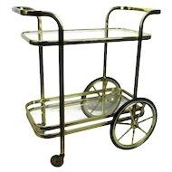 Bar Tea Cart Trolley Cocktail Kitchen Island Clear Glass Chrome Brass 70s