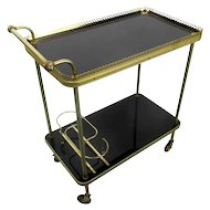 Vintage Mid Century Bar Cart Trolley Cocktail Kitchen Island Smoked Glass