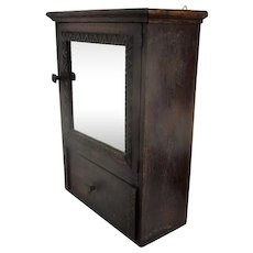 Vintage Wooden Kitchen Apothecary Bathroom Wall Cabinet Mirror Drawer