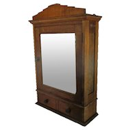 Large Oak Kitchen Apothecary Wall Cabinet Beveled Glass Mirror 2 Drawers Lovely