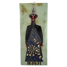 Funky Wall Plaque Glazed Ceramic Tile Giant Arno Brys for Amphora Vandeweghe