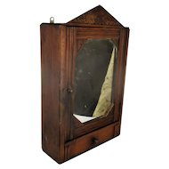 Vintage Kitchen Apothecary Bathroom Wall Cabinet Hand Carved Wood Pediment
