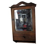 Vintage Kitchen Apothecary Bathroom Wall Cabinet Beveled Glass Mirror Pediment