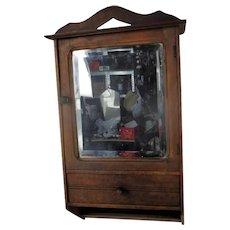 Vintage Kitchen Apothecary Bathroom Wall Cabinet Beveled Glass Mirror Pediment