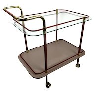Bar Tea Cart Trolley Cocktail Kitchen Island Clear Glass Chrome Pink 70s 80s