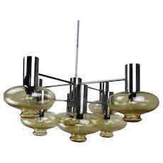 Mid Century Modern Atomic Chandelier 8 Amber Glass Sconces Lights era Sciolari