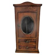 Gorgeous Kitchen Apothecary Bathroom Wall Cabinet Oval Beveled Mirror Inlay Oak