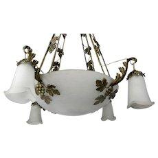 Art Nouveau Deco Jean Noverdy French Chandelier Pendant Stylish Elegant