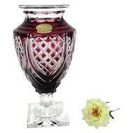 Val St Lambert Art Glass Crystal Jupiter Iconic Vase Etched Signed Cranberry Red