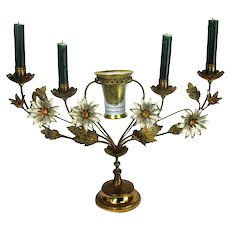 Brass Hollywood regency Floral Candle Holder Candelabra 4 arm Karlsbader Planter