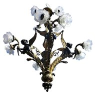 Large Exquisite French Neo Classic Chandelier 12 Light Bronze Patinated Sirens